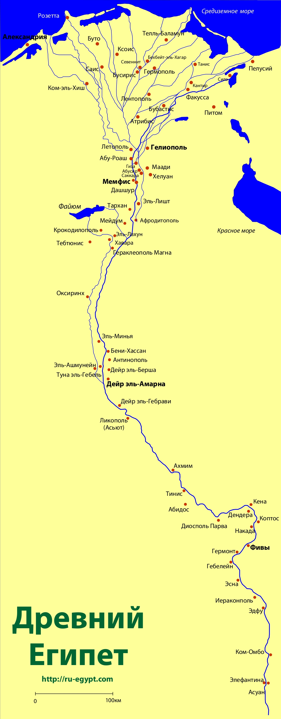 Карта Древнего Египта